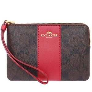 COACH PVC BROWN AND BRIGHT RED WRISTLET
